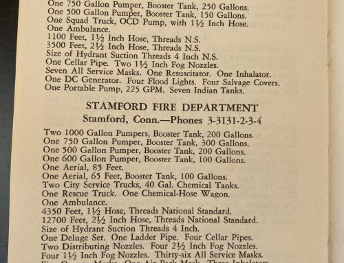 1951:  Equipment Inventory of the Stamford Fire Department